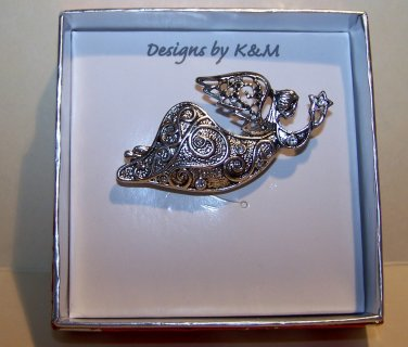 Flying Angel With Star - K&M Designs Silver Tone w/Rhinestones NIB