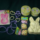 10 Easter Cookie Cutters, Mold, Easter Tins & 48 Cupcake Papers-Picks