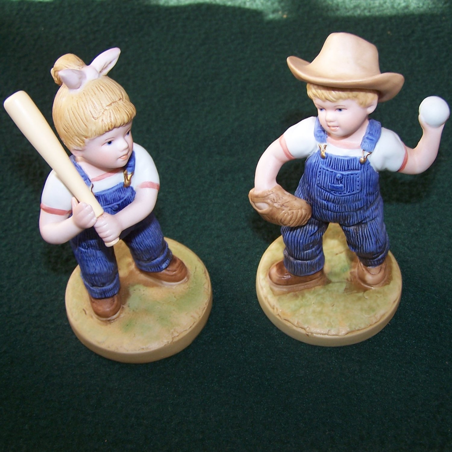 Vintage retired 1985 denim days let 39 s play ball 1522 Home interiors figurines homco
