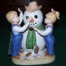 HOMCO: Denim Days - OUR SNOWMAN #1508 - c1985 Debbie & Danny