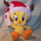 Hallmark Plush 2006 Looney Tunes Santa's Wittle Helper Stuffed Toy Tweety with Santa Hat and Antlers