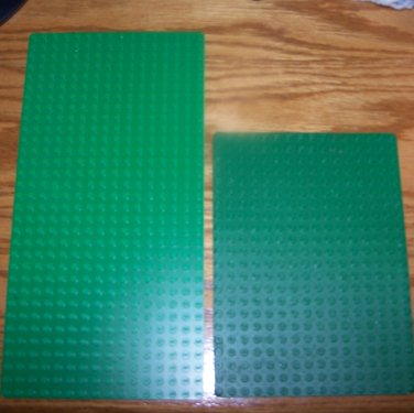 2 Lego Green Baseplates Base Plates 5x10 INCH 16X32 Dots & 5x6.75 INCH 16x22 Dots
