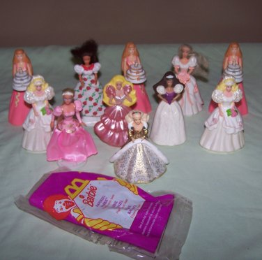 11 Small 1990's Princess Barbies - Toys or Cake Toppers - McDonald's