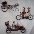 "1975 Homco ""The Good Ol' Days"" Early Transportation 3 pc Wall Decor Bike Car Carriage"