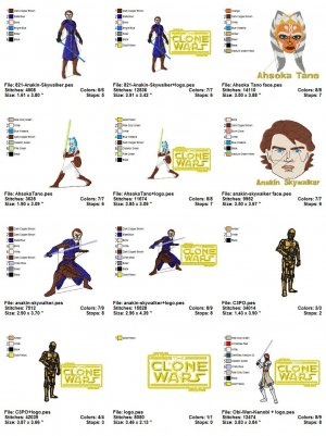 STAR WARS (THE CLONE WARS) - 18 EMBROIDERY DESIGNS