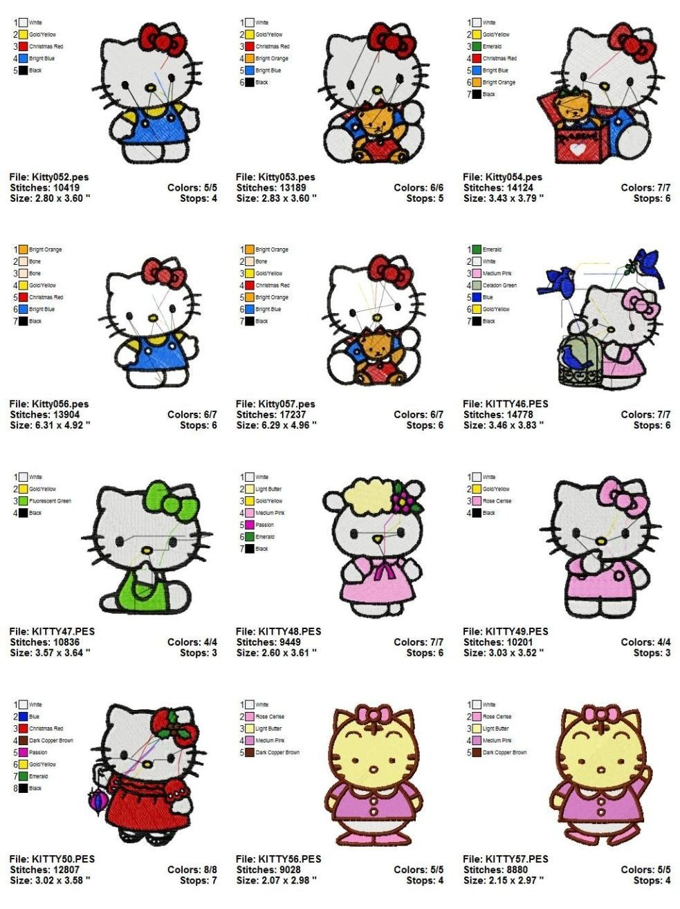HELLO KITTY (2) - 12 EMBROIDERY DESIGNS