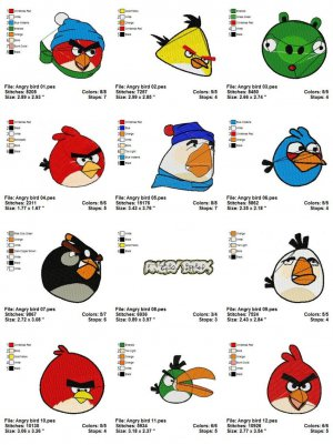 ANGRY BIRD - 12 EMBROIDERY DESIGNS