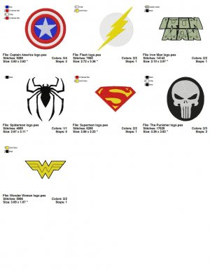 SUPER HEROES LOGO (2) - 7 Embroidery designs
