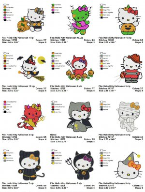 HELLO KITTY HALLOWEEN - 12 EMBROIDERY DESIGNS