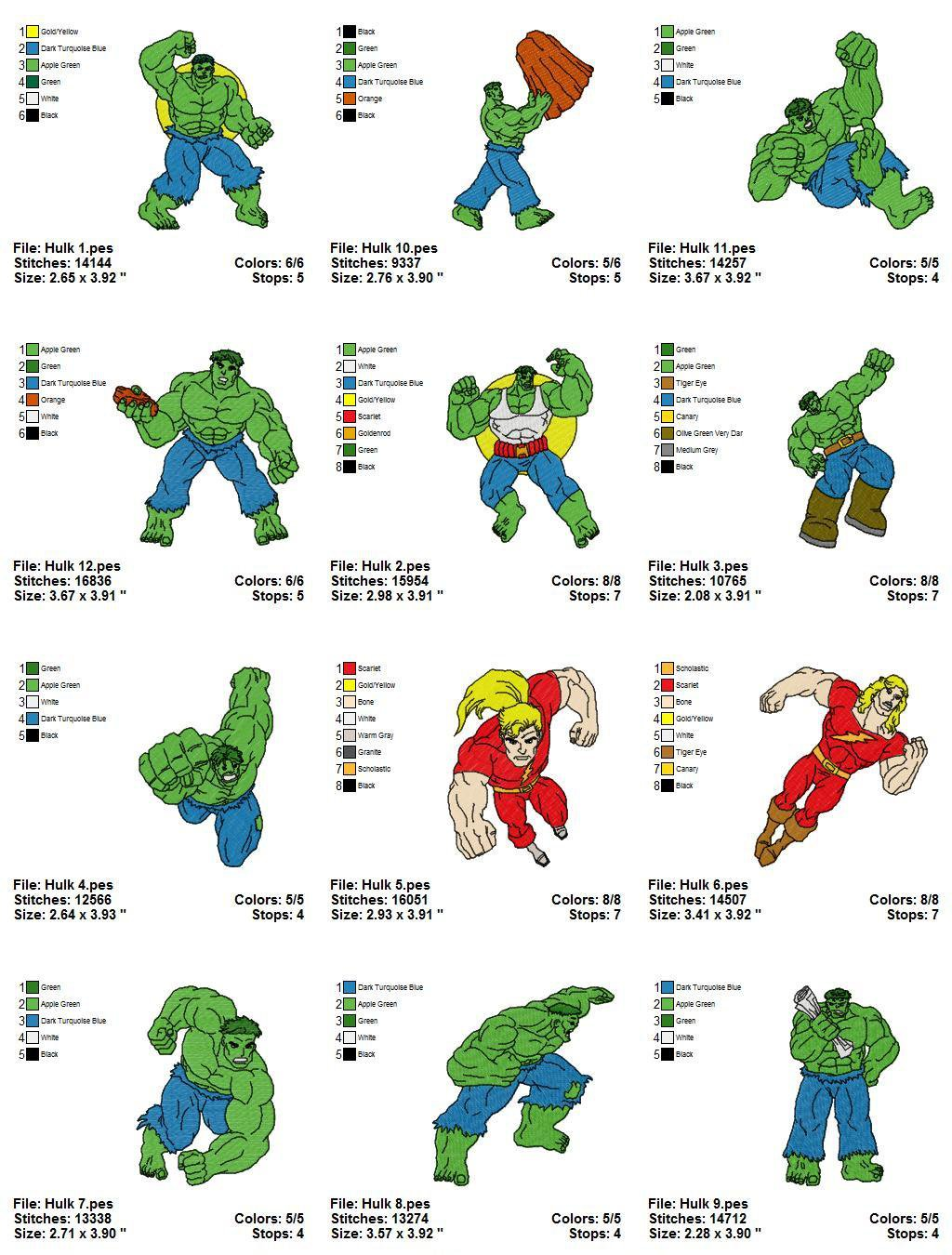 HULK - 12 EMBROIDERY DESIGNS