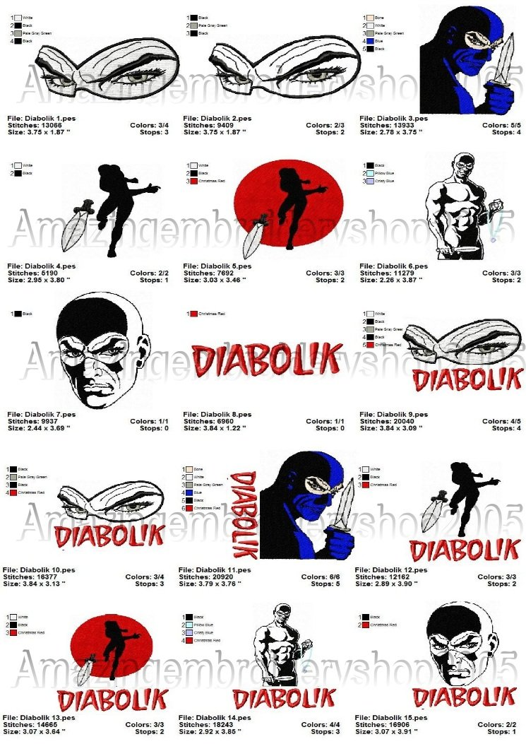DIABOLIK - 15 EMBROIDERY DESIGNS