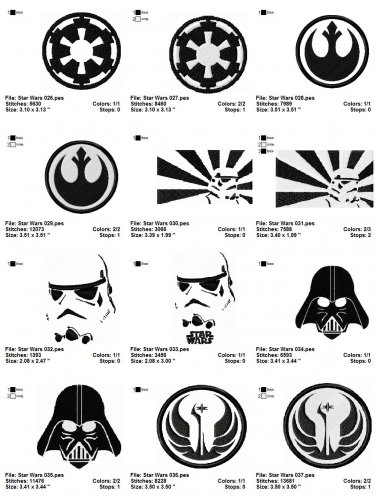 STAR WARS (3) - 12 EMBROIDERY DESIGNS