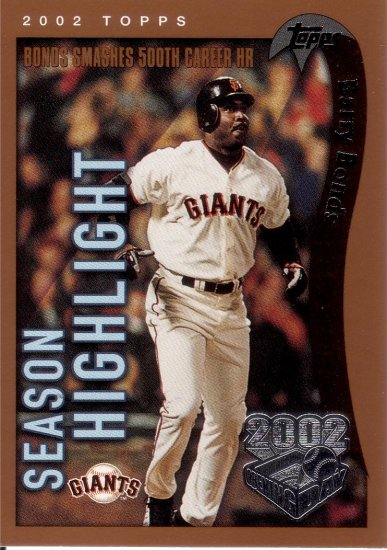 BARRY BONDS 2002 TOPPS OPENING DAY #160 SAN FRANCISCO GIANTS