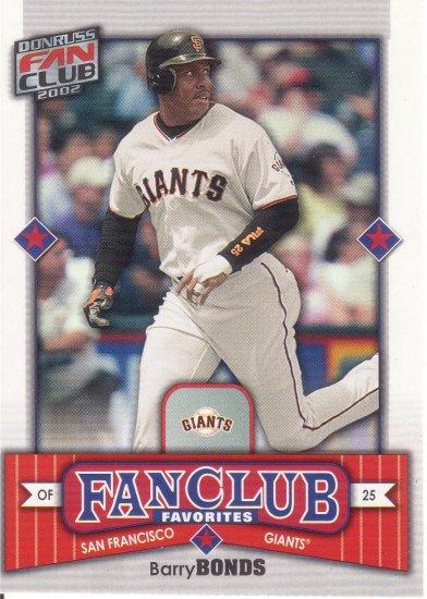 BARRY BONDS 2002 FAN CLUB #291 SAN FRANCISCO GIANTS