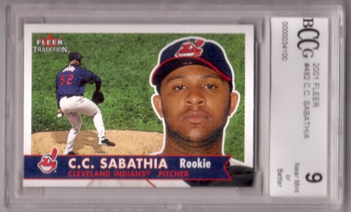 C.C. SABATHIA 2001 FLEER #482 ROOKIE BCCG 9 NMT or BETTER CLEVELAND INDIANS