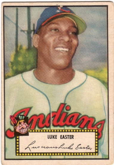 LUKE EASTER 1952 TOPPS BLACK BACK #24A CLEVELAND INDIANS