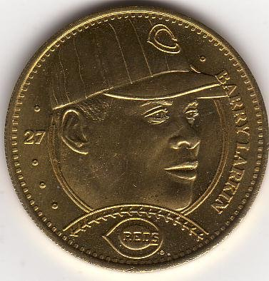 BARRY LARKIN 1997 PINNACLE MINT BRASS COIN #27 CINCINNATI REDS