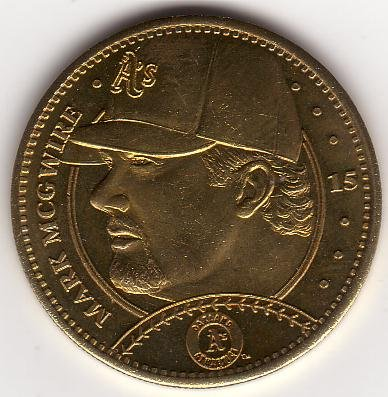 MARK McGWIRE 1997 PINNACLE MINT BRASS COIN #15 ST. LOUIS CARDINALS