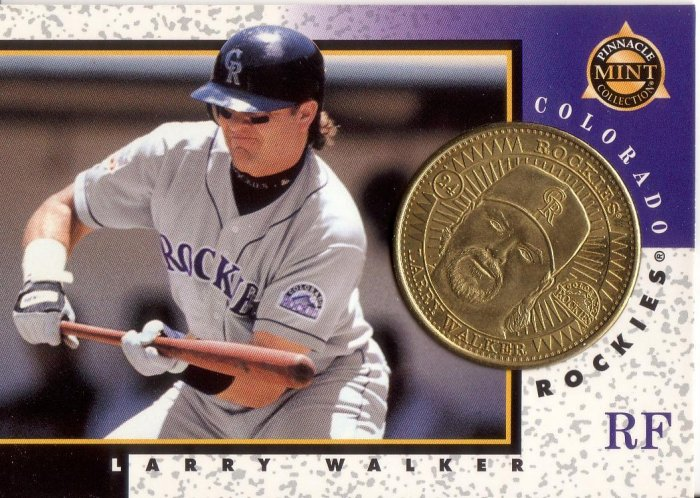 LARRY WALKER 1998 PINNACLE MINT BRASS COIN #24 W/ DIE-CARD COLORADO ROCKIES