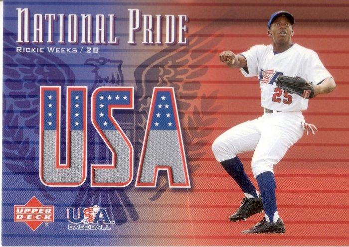 RICKIE WEEKS 2003 UPPER DECK USA NATIONAL PRIDE JERSEY #RW UNITED STATES