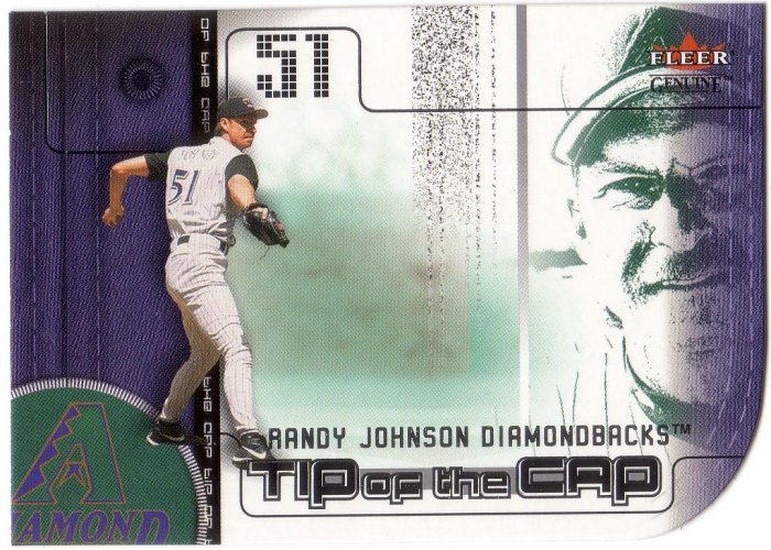 RANDY JOHNSON 2002 GENUINE TIP OF THE CAP #16 DIE-CUT ARIZONA DIAMONDBACKS
