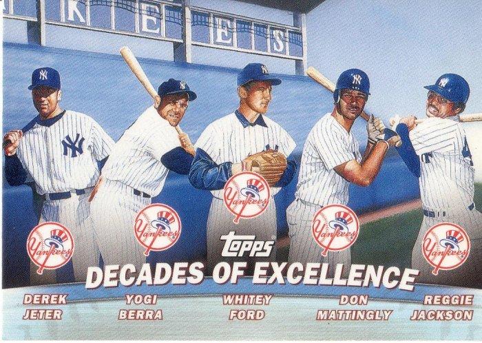 NEW YORK YANKEES 2001 TOPPS COMBOS #TC1 JETER, BERRA, FORD, MATTINGLY, JACKSON