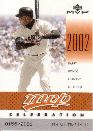 BARRY BONDS 2003 MVP MVP CELEBRATION #82 SP# 0155/2001 SAN FRANCISCO GIANTS