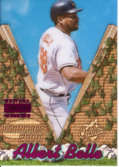 ALBERT BELLE 2000 INVINCIBLE HOLO-PURPLE #17 SP# 195/299 BALTIMORE ORIOLES