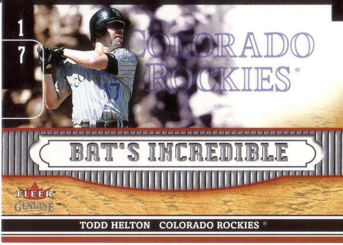TODD HELTON 2002 FLEER GENUINE BAT'S INCREDIBLE #BI 1 COLORADO ROCKIES