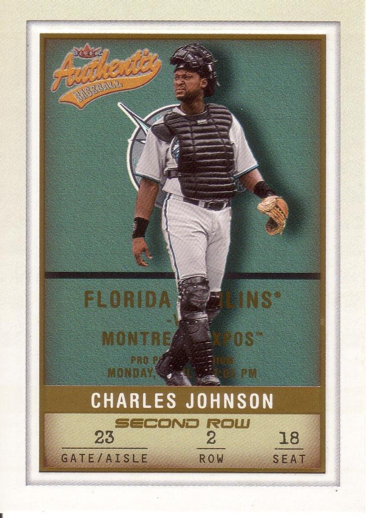 CHARLES JOHNSON 2002 FLEER AUTHENTIX SECOND ROW SP 179/250 #60 FLORIDA MARLINS AllstarZsports.com