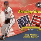 GREG MADDUX 2002 FLEER BOX SCORE AMAZING GREATS #20AG  ATLANTA BRAVES www.AllstarZsports.com
