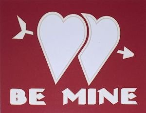 Red On White Be Mine Double Hearts Mat