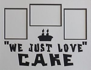 """Custom Color Double """"We Just Love Cake"""" 3 Picture Collage Photo Mat 16 x 20"""