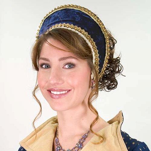 Tudor Velvet Renaissance French Hood - Dark Blue