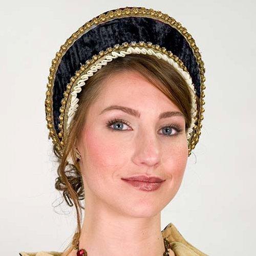 Tudor Velvet Renaissance French Hood - Black