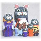 Cat Peasant Family Doll 5pc. - 5""