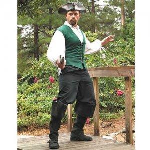 Cotton Drawstring Pirate Pants - Black, S/M