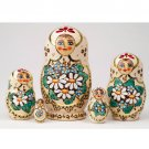 Woodburned Nesting Doll with Daisies 5pc. - 6&quot;