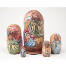 Carved Life of Christ Nesting Doll by Koblov 5pc. - 7""