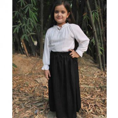 Cotton Medieval Skirt - Black, Medium