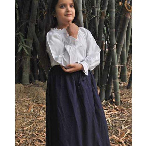 Cotton Medieval Skirt - Navy, Medium