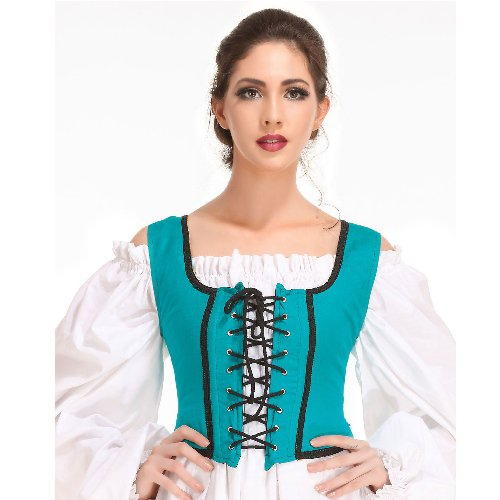 Decorated Wench Bodice � Hunter Green, Large