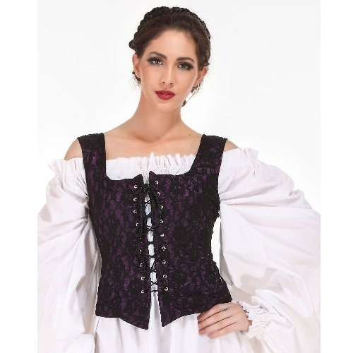 Reversible Medieval Goth Bodice - Blue, Small