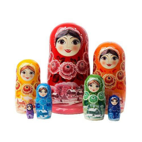 "Rainbow Nesting Doll 7pc. - 8"""