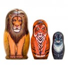 Lion Tiger Kitty Nesting Doll 3pc. - 3.5""