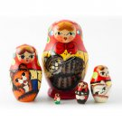 Large Mini Matryoshka Doll Holding Cats 5pc. - 2""