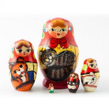 "Large Mini Matryoshka Doll Holding Cats 5pc. - 2"""