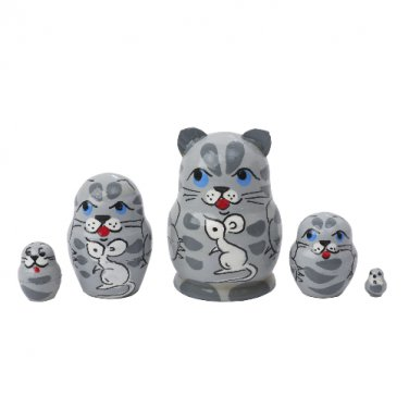 Mini Gray Cat with Mouse Doll 5pc. - 1""