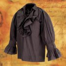 Tortuga Ruffle Pirate Shirt - Black, S/M