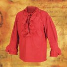 Tortuga Ruffle Pirate Shirt - Red, S/M
